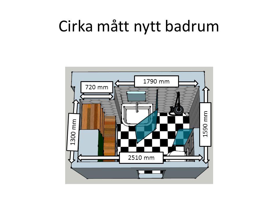 Cirka mått nytt badrum 2510 mm 1590 mm 1300 mm 1790 mm 720 mm