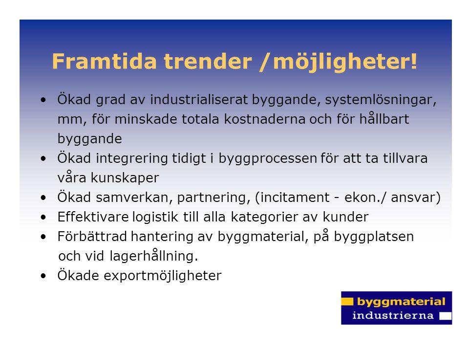 Framtida trender /möjligheter! Ökad grad av industrialiserat byggande, systemlösningar, mm, för minskade totala kostnaderna och för hållbart byggande