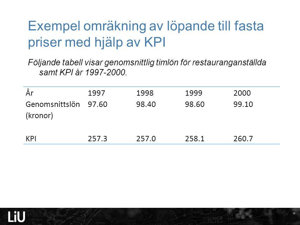 Exempel omräkning av löpande till fasta priser med hjälp av KPI Följande tabell visar genomsnittlig timlön för restauranganställda samt KPI år 1997-20