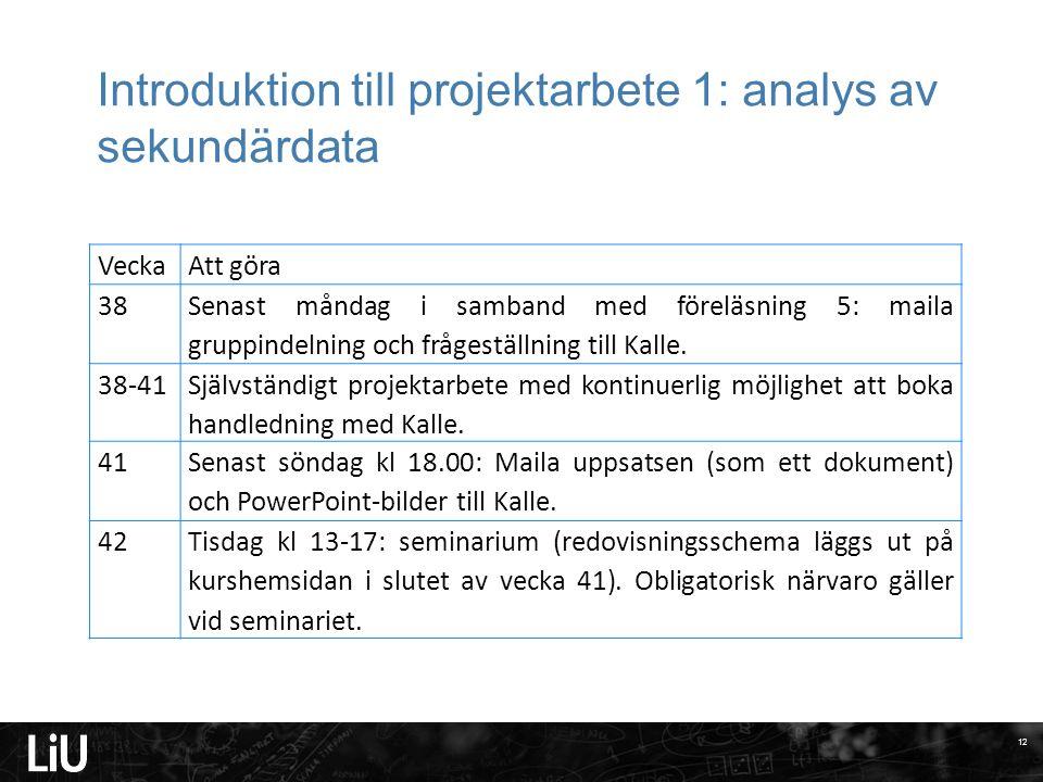 Introduktion till projektarbete 1: analys av sekundärdata VeckaAtt göra 38 Senast måndag i samband med föreläsning 5: maila gruppindelning och frågest