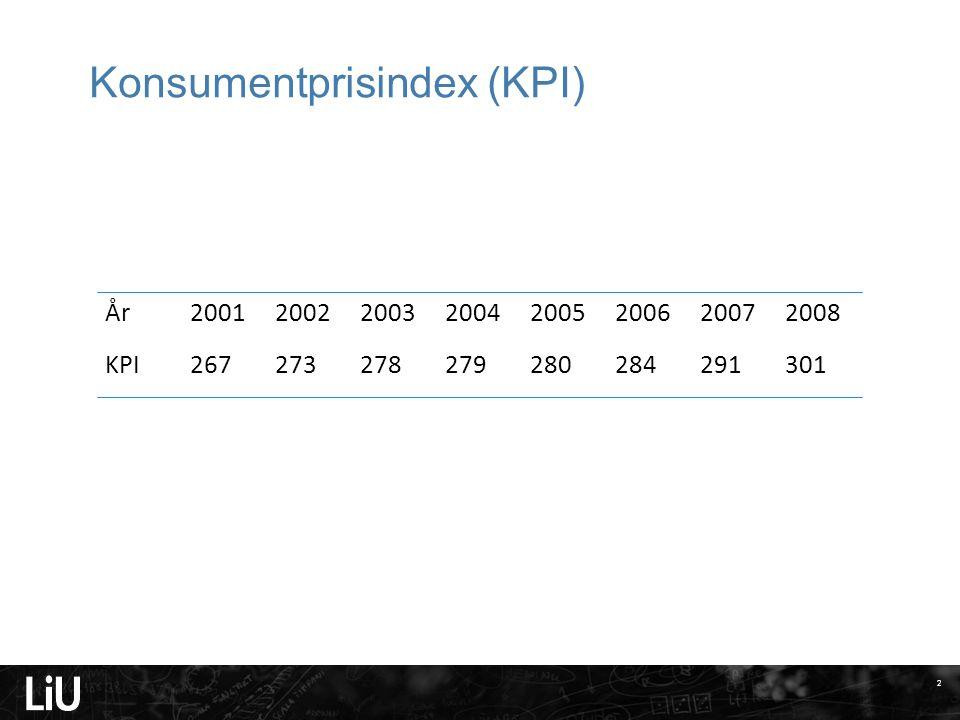Exempel enkla index Betrakta följande tabell över prisutvecklingen av 1 kilo torskfilé och 1 kilo falukorv under perioden 1994-2000 (årliga medelpriser i kronor).