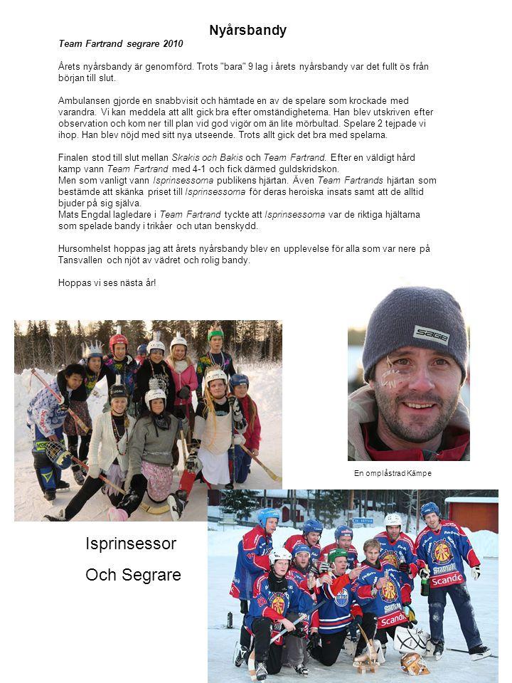 Nyårsbandy Team Fartrand segrare 2010 Årets nyårsbandy är genomförd. Trots