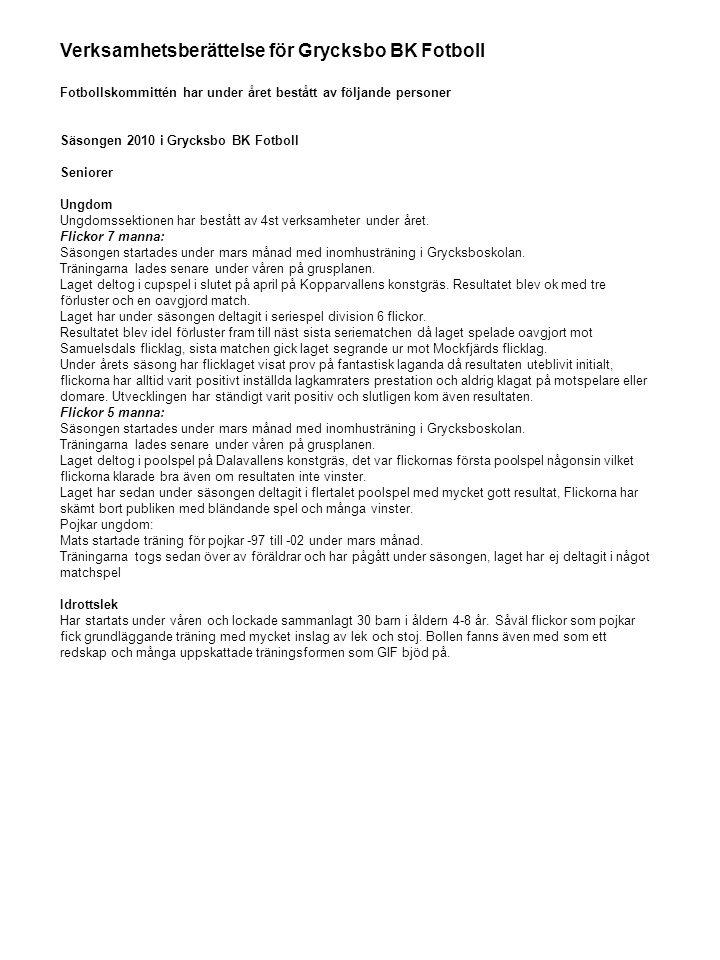 Verksamhetsberättelse för Grycksbo BK Fotboll Fotbollskommittén har under året bestått av följande personer Säsongen 2010 i Grycksbo BK Fotboll Senior