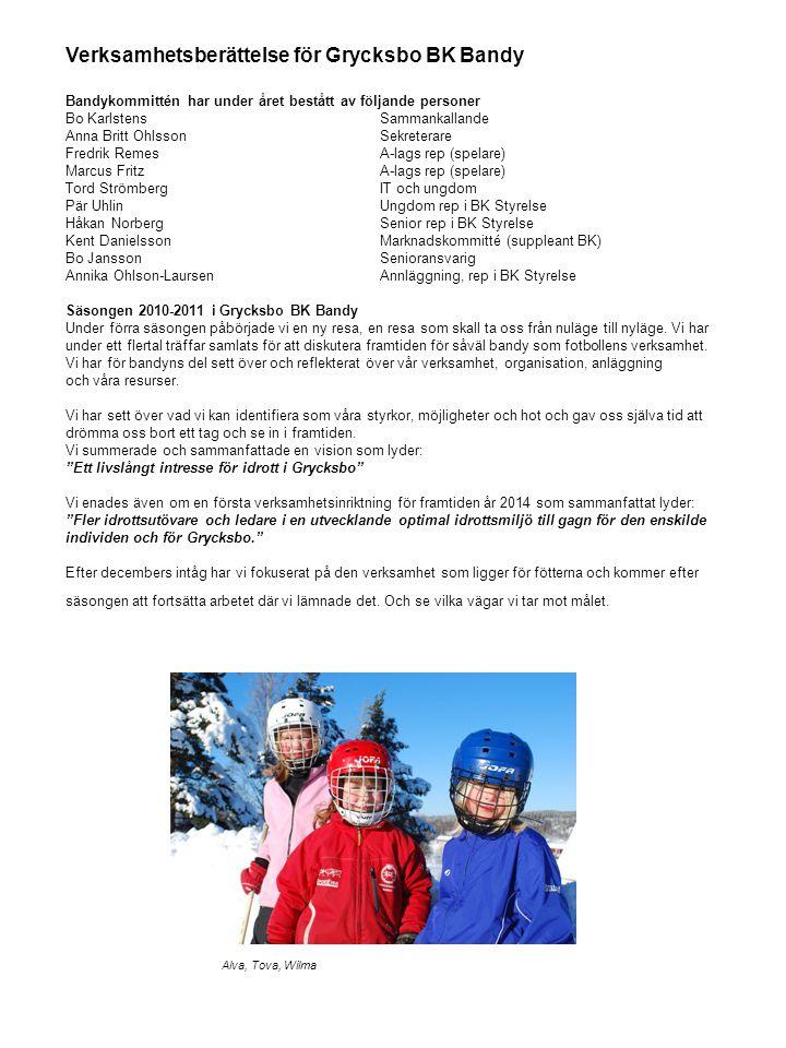 Verksamhetsberättelse för Grycksbo BK Bandy Bandykommittén har under året bestått av följande personer Bo KarlstensSammankallande Anna Britt OhlssonSe