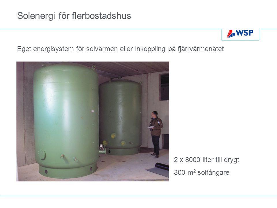 Solenergi för flerbostadshus Eget energisystem för solvärmen eller inkoppling på fjärrvärmenätet 2 x 8000 liter till drygt 300 m 2 solfångare