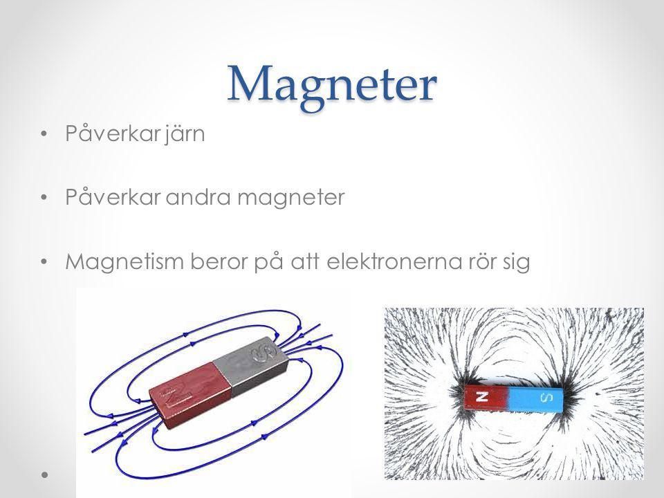Magneten har två poler Nordpol som är röd Sydpol som är vit Sypol dras till nordpol och tvärt om medan sypol stöter bort sydpol.