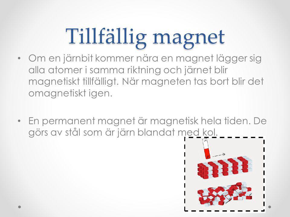 Elektrisk ström kan ge magnetism Elektrisk ström är elektroner som rör sig.
