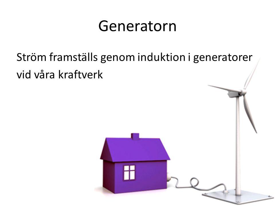 Generatorn Ström framställs genom induktion i generatorer vid våra kraftverk