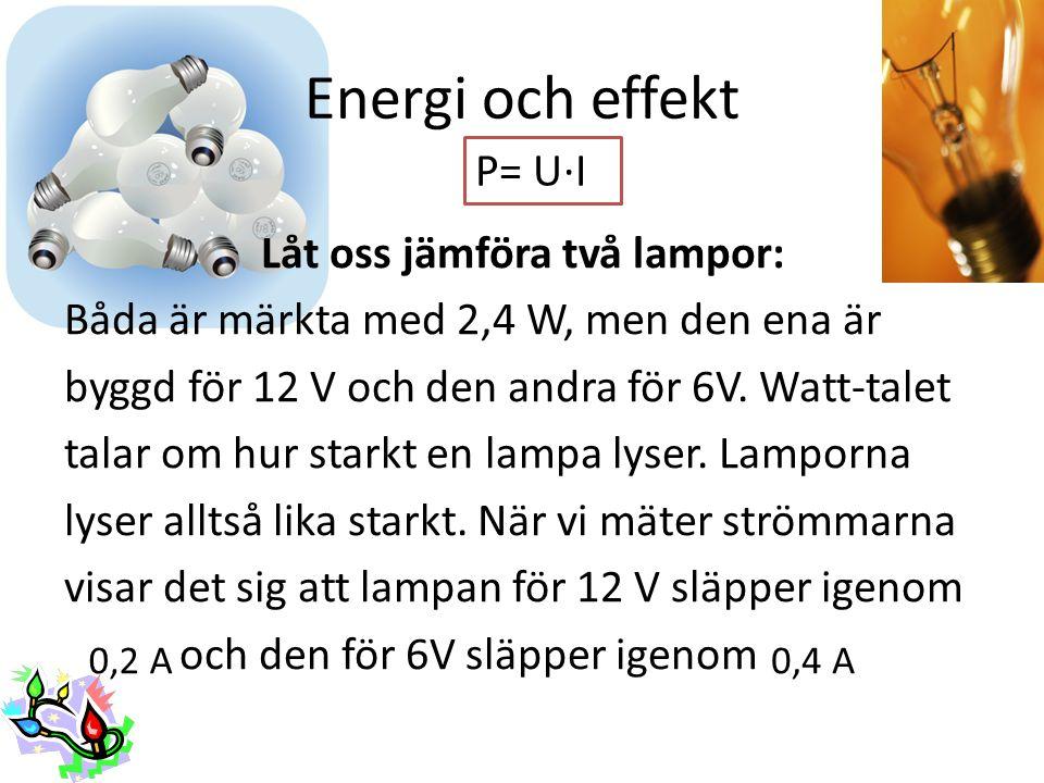 Energi och effekt Låt oss jämföra två lampor: Båda är märkta med 2,4 W, men den ena är byggd för 12 V och den andra för 6V. Watt-talet talar om hur st