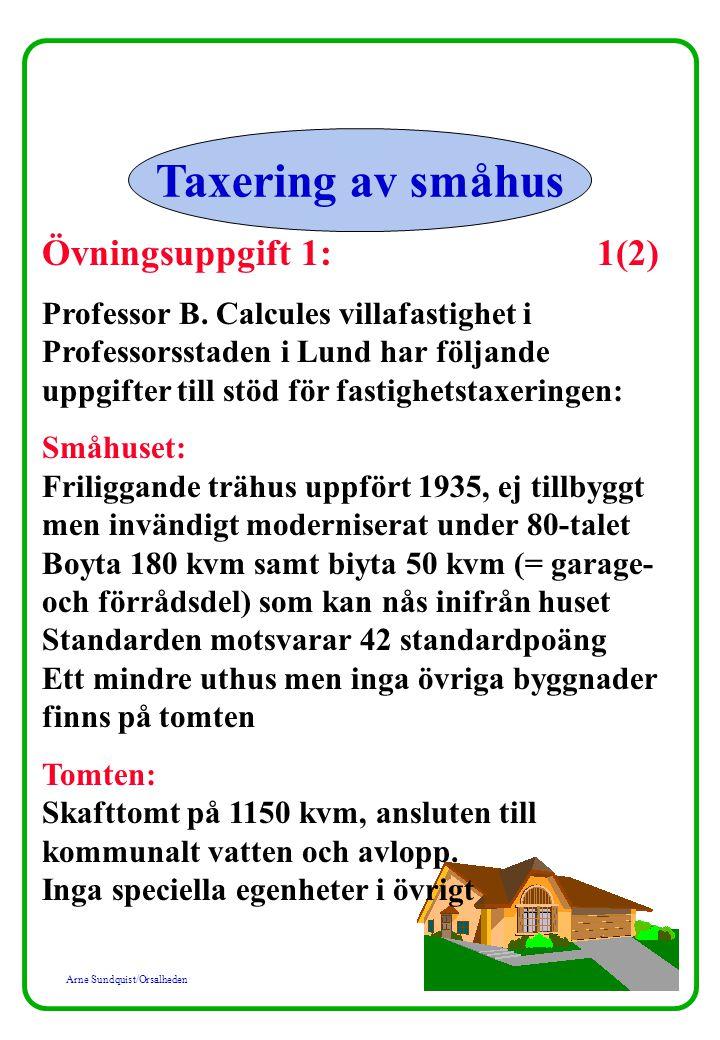 Arne Sundquist/Orsalheden Taxering av småhus Övningsuppgift 1: 1(2) Professor B.