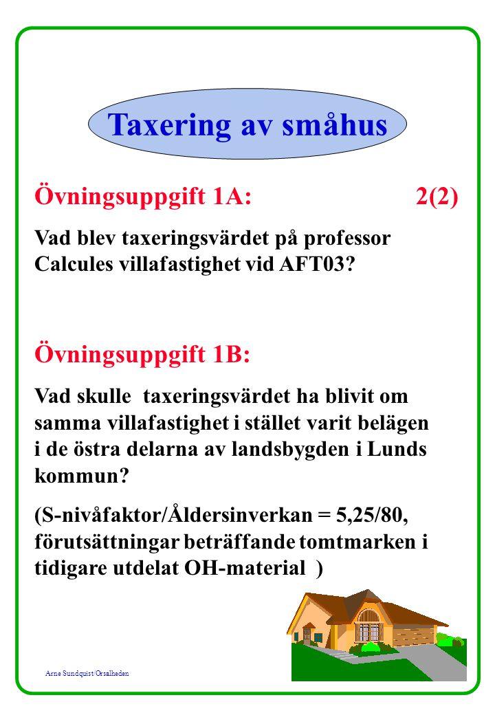 Arne Sundquist/Orsalheden Taxering av småhus Övningsuppgift 1A: 2(2) Vad blev taxeringsvärdet på professor Calcules villafastighet vid AFT03.