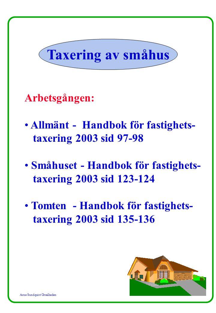 Arne Sundquist/Orsalheden Taxering av småhus Arbetsgången: Allmänt - Handbok för fastighets- taxering 2003 sid 97-98 Småhuset - Handbok för fastighets- taxering 2003 sid 123-124 Tomten - Handbok för fastighets- taxering 2003 sid 135-136