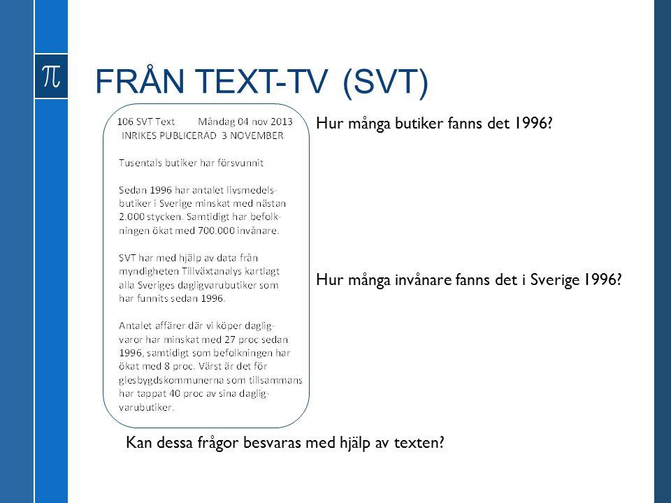 FRÅN TEXT-TV (SVT) Hur många butiker fanns det 1996.