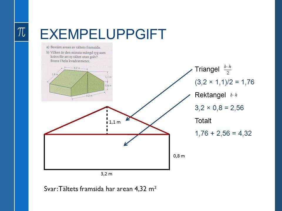 EXEMPELUPPGIFT 3,2 × 0,8 = 2,56 (3,2 × 1,1)/2 = 1,76 1,76 + 2,56 = 4,32 Triangel Rektangel Totalt Svar: Tältets framsida har arean 4,32 m²