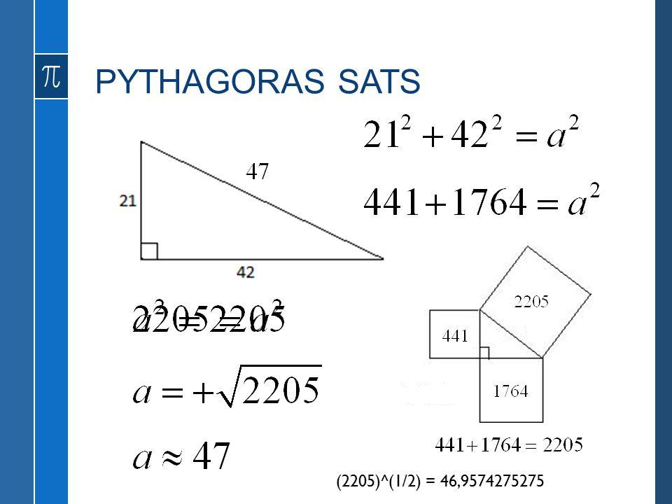 PYTHAGORAS SATS a (2205)^(1/2) = 46,9574275275