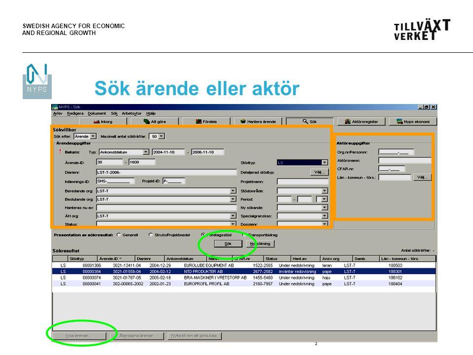 SWEDISH AGENCY FOR ECONOMIC AND REGIONAL GROWTH 4 Visa ärende