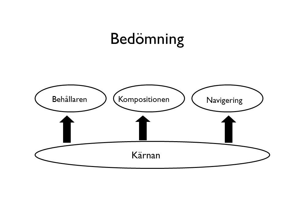 Bedömning KompositionenBehållaren Navigering Kärnan
