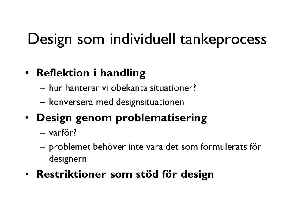 Design som individuell tankeprocess Reflektion i handling –hur hanterar vi obekanta situationer.