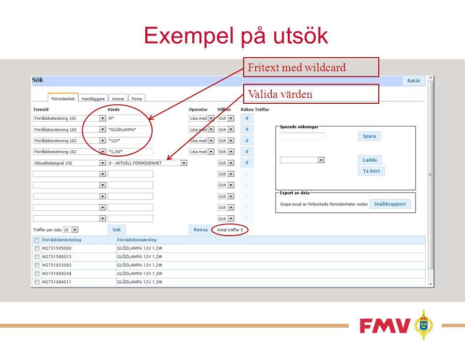 Exempel på utsök Fritext med wildcard Valida värden