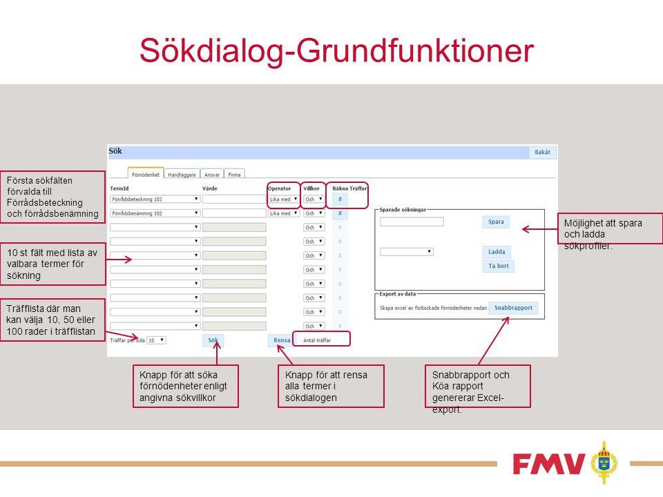 Sökdialog-Grundfunktioner Första sökfälten förvalda till Förrådsbeteckning och förrådsbenämning 10 st fält med lista av valbara termer för sökning Möj