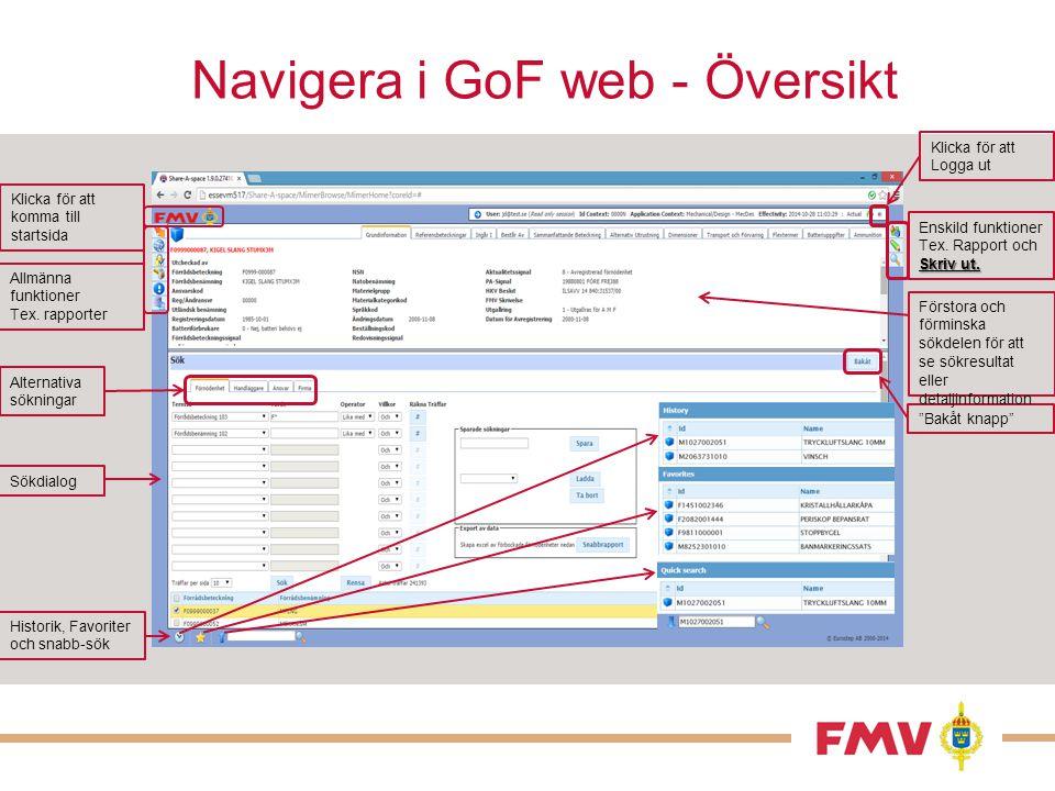 Navigera i GoF web - Översikt Klicka för att komma till startsida Historik, Favoriter och snabb-sök Klicka för att Logga ut Sökdialog Allmänna funktio