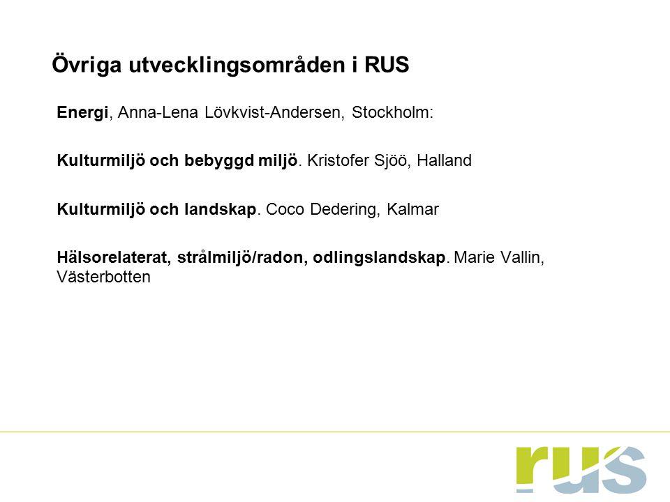 Övriga utvecklingsområden i RUS Energi, Anna-Lena Lövkvist-Andersen, Stockholm: Kulturmiljö och bebyggd miljö. Kristofer Sjöö, Halland Kulturmiljö och