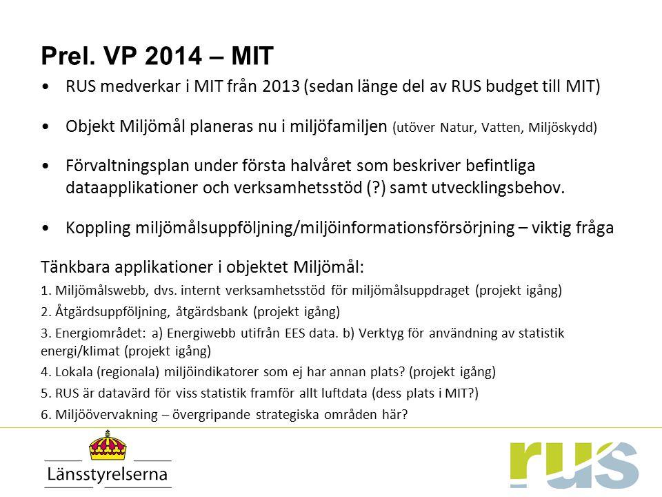Prel. VP 2014 – MIT RUS medverkar i MIT från 2013 (sedan länge del av RUS budget till MIT) Objekt Miljömål planeras nu i miljöfamiljen (utöver Natur,