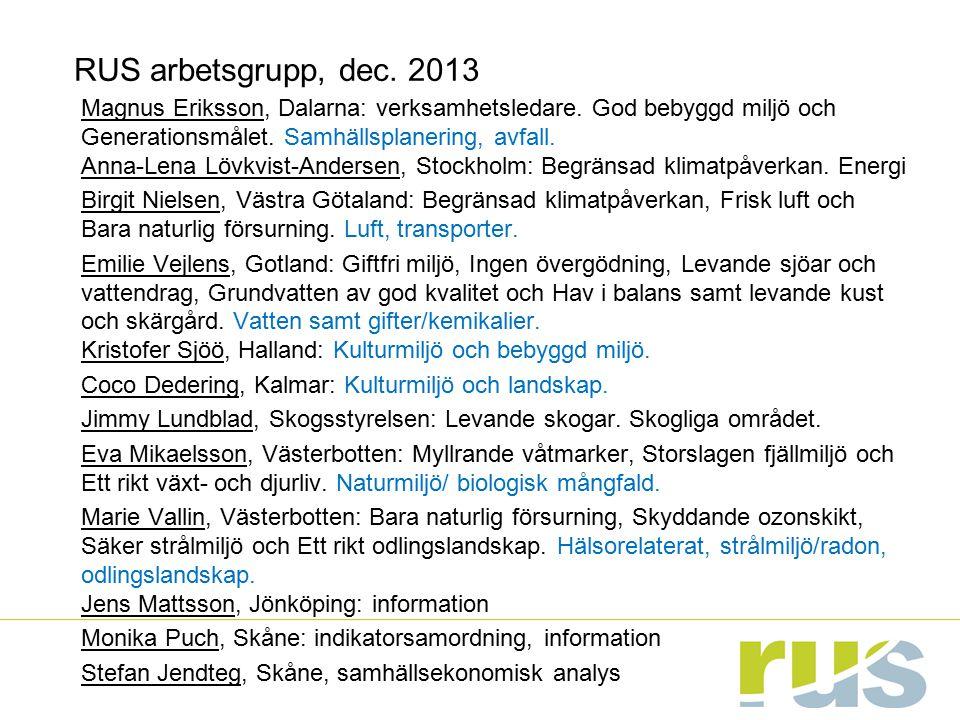 RUS arbetsgrupp, dec. 2013 Magnus Eriksson, Dalarna: verksamhetsledare. God bebyggd miljö och Generationsmålet. Samhällsplanering, avfall. Anna-Lena L