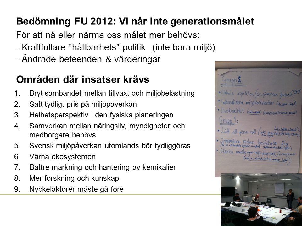 """Bedömning FU 2012: Vi når inte generationsmålet För att nå eller närma oss målet mer behövs: - Kraftfullare """"hållbarhets""""-politik (inte bara miljö) -"""