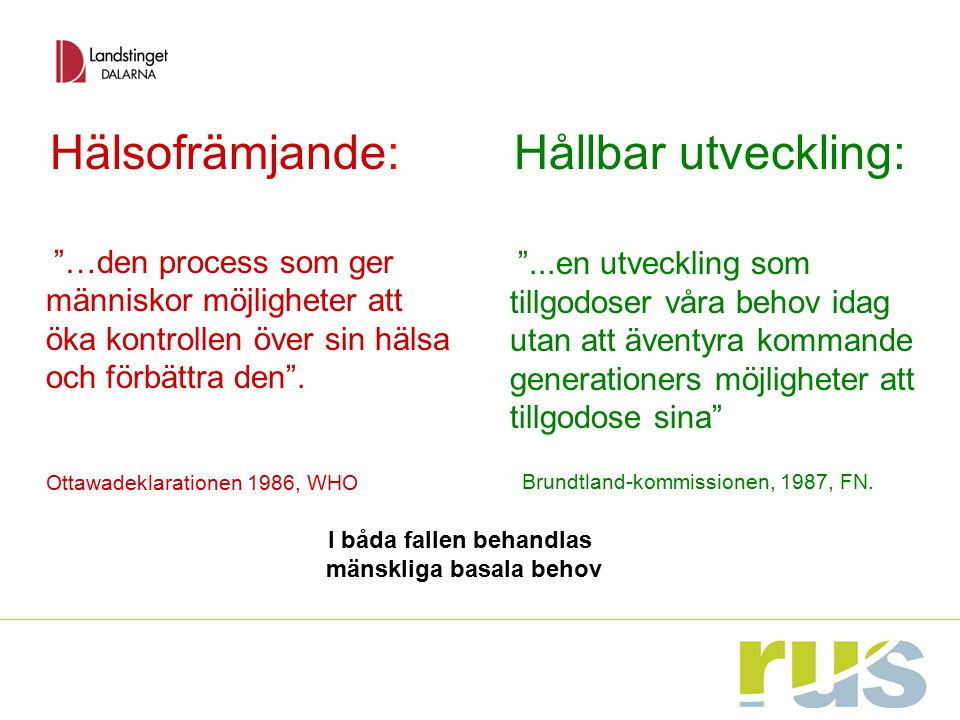 """Hälsofrämjande: """"…den process som ger människor möjligheter att öka kontrollen över sin hälsa och förbättra den"""". Ottawadeklarationen 1986, WHO Hållba"""