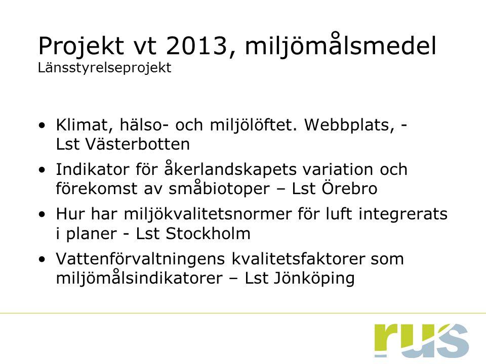 Projekt vt 2013, miljömålsmedel Länsstyrelseprojekt Klimat, hälso- och miljölöftet. Webbplats, - Lst Västerbotten Indikator för åkerlandskapets variat