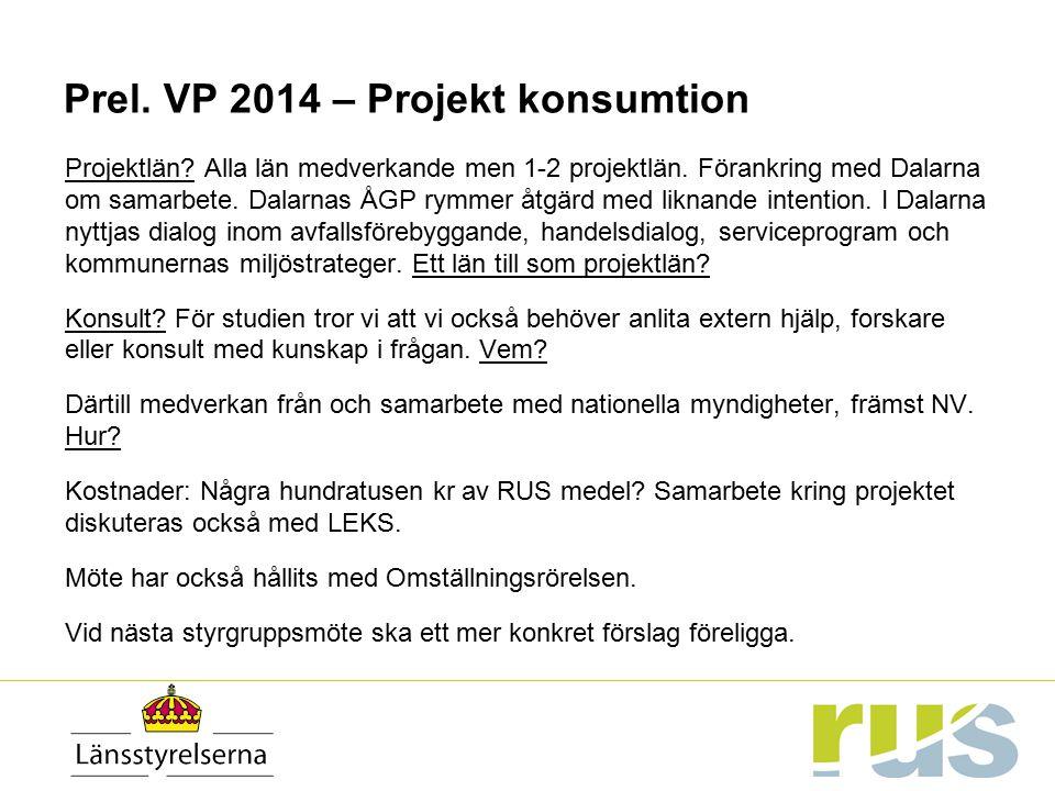 Prel. VP 2014 – Projekt konsumtion Projektlän? Alla län medverkande men 1-2 projektlän. Förankring med Dalarna om samarbete. Dalarnas ÅGP rymmer åtgär
