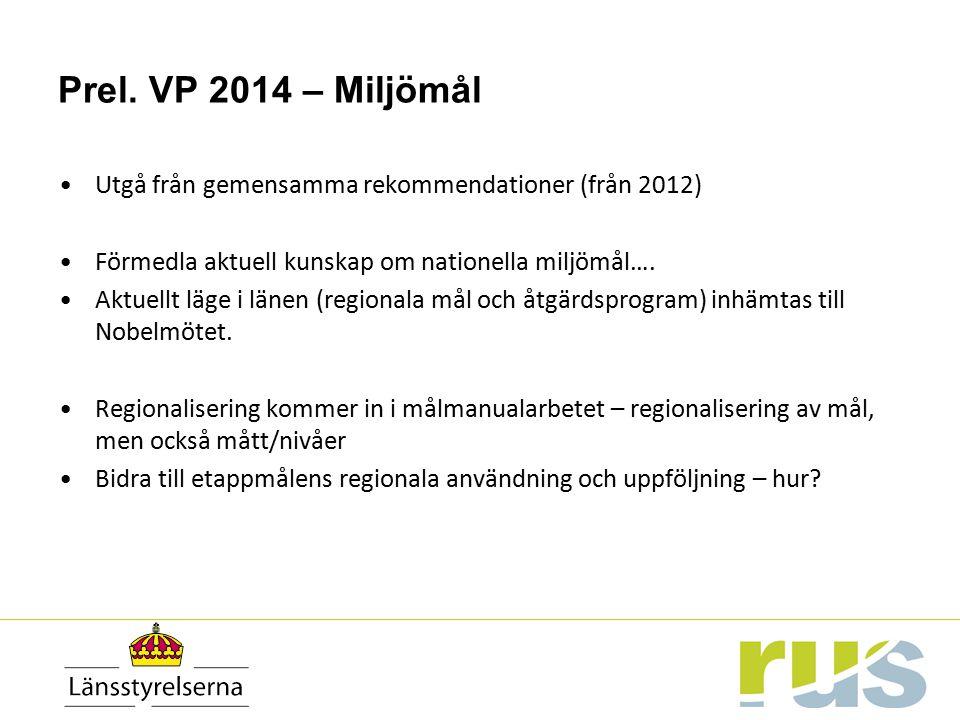 Prel. VP 2014 – Miljömål Utgå från gemensamma rekommendationer (från 2012) Förmedla aktuell kunskap om nationella miljömål…. Aktuellt läge i länen (re