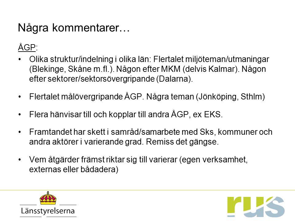 Några kommentarer… ÅGP: Olika struktur/indelning i olika län: Flertalet miljöteman/utmaningar (Blekinge, Skåne m.fl.). Någon efter MKM (delvis Kalmar)