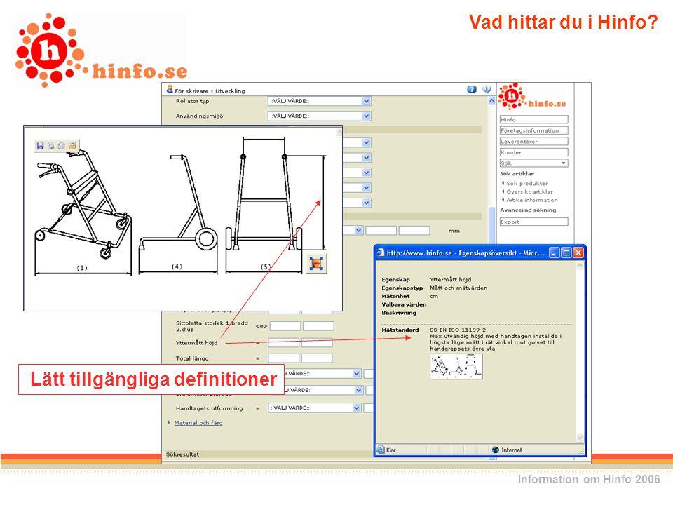 Lätt tillgängliga definitioner Vad hittar du i Hinfo Information om Hinfo 2006