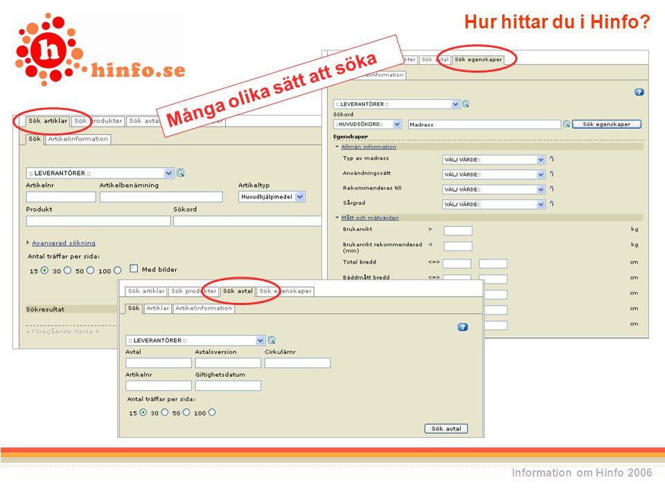 Hur hittar du i Hinfo Information om Hinfo 2006 Många olika sätt att söka