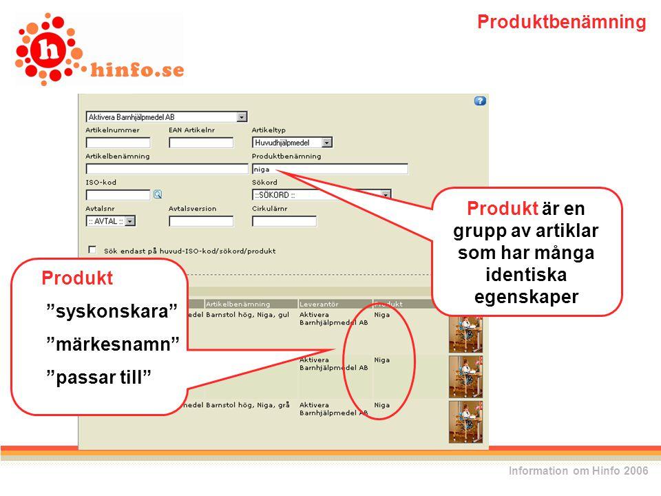 Produkt är en grupp av artiklar som har många identiska egenskaper Produkt syskonskara märkesnamn passar till Information om Hinfo 2006 Produktbenämning