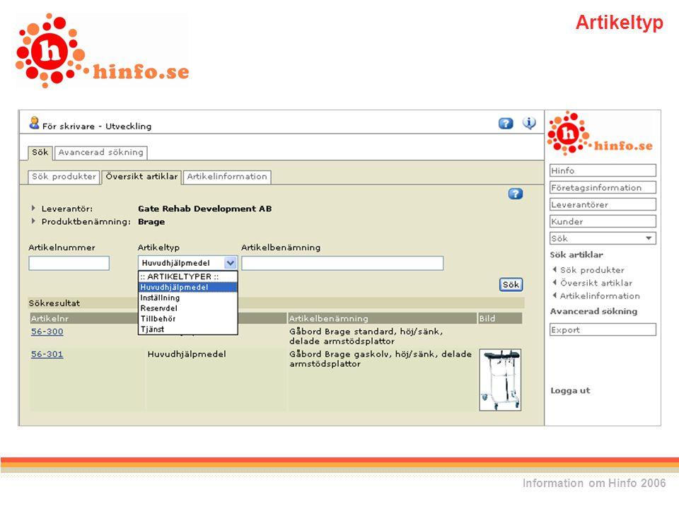 Information om Hinfo 2006 Artikeltyp