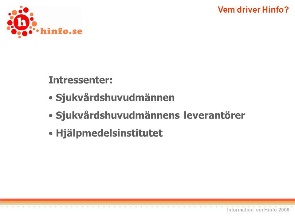 Intressenter: Sjukvårdshuvudmännen Sjukvårdshuvudmännens leverantörer Hjälpmedelsinstitutet Vem driver Hinfo.