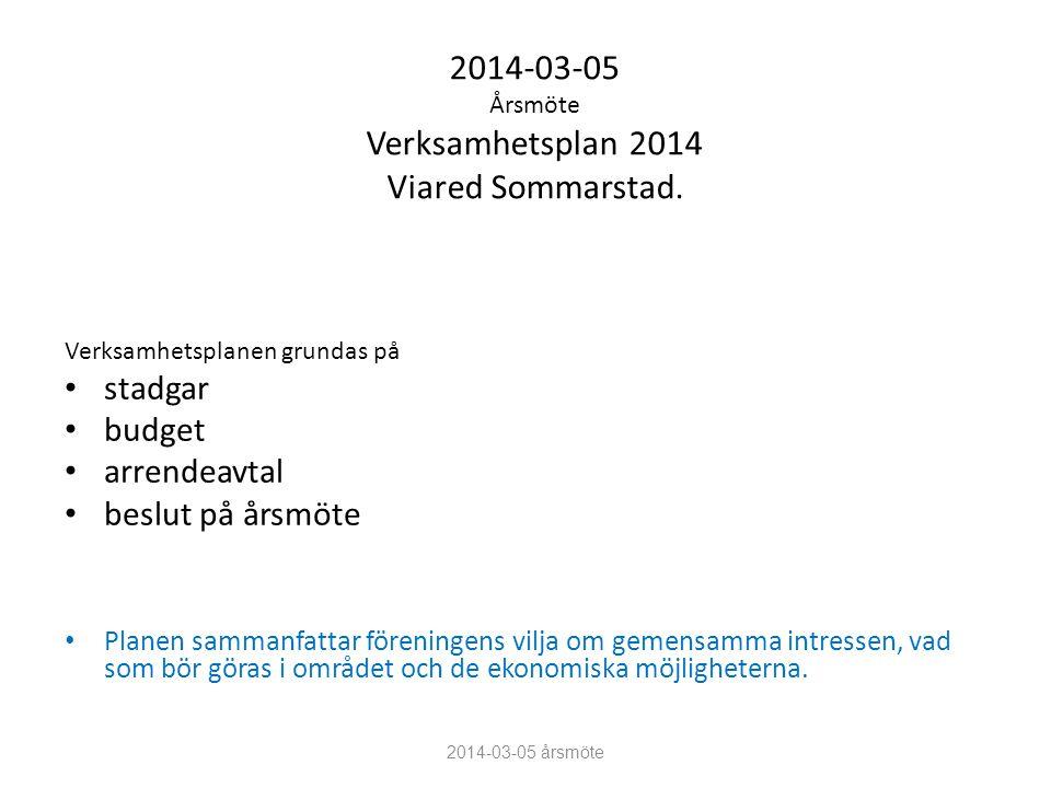 2014-03-05 Årsmöte Verksamhetsplan 2014 Viared Sommarstad.