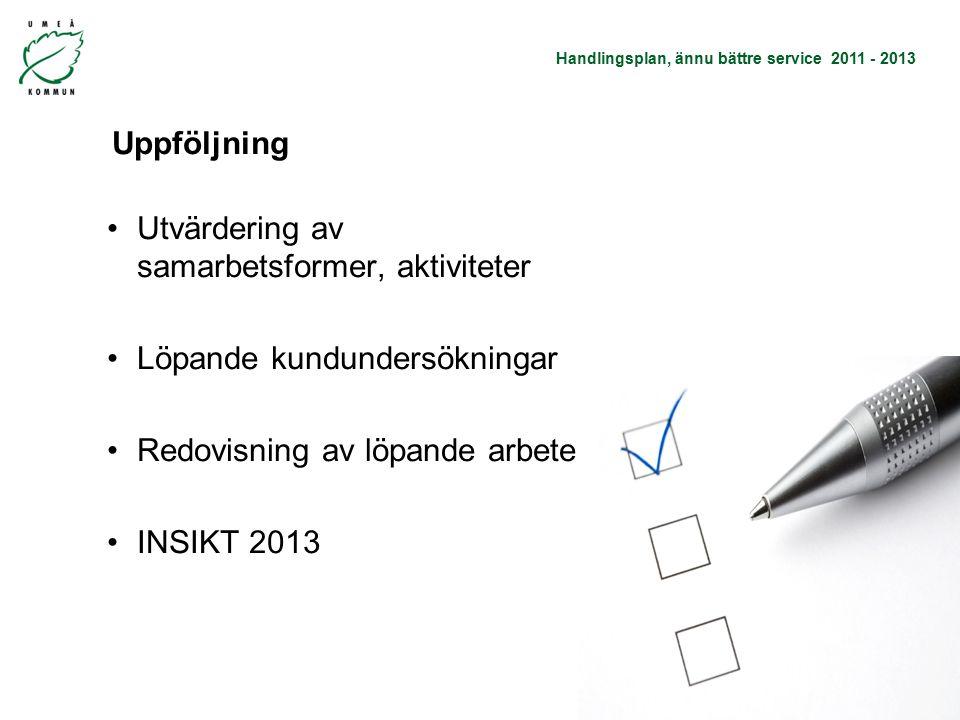 Handlingsplan, ännu bättre service 2011 - 2013 Uppföljning Utvärdering av samarbetsformer, aktiviteter Löpande kundundersökningar Redovisning av löpande arbete INSIKT 2013