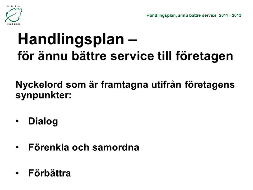 Handlingsplan, ännu bättre service 2011 - 2013 Handlingsplan – för ännu bättre service till företagen Nyckelord som är framtagna utifrån företagens synpunkter: Dialog Förenkla och samordna Förbättra -