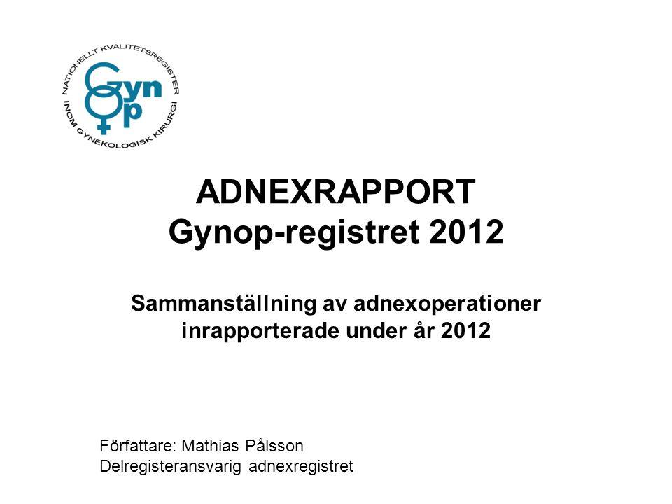 ADNEXRAPPORT Gynop-registret 2012 Sammanställning av adnexoperationer inrapporterade under år 2012 Författare: Mathias Pålsson Delregisteransvarig adn
