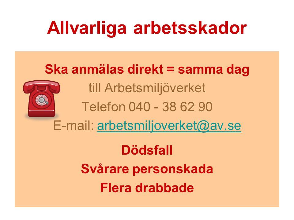 Allvarliga arbetsskador Ska anmälas direkt = samma dag till Arbetsmiljöverket Telefon 040 - 38 62 90 E-mail: arbetsmiljoverket@av.searbetsmiljoverket@