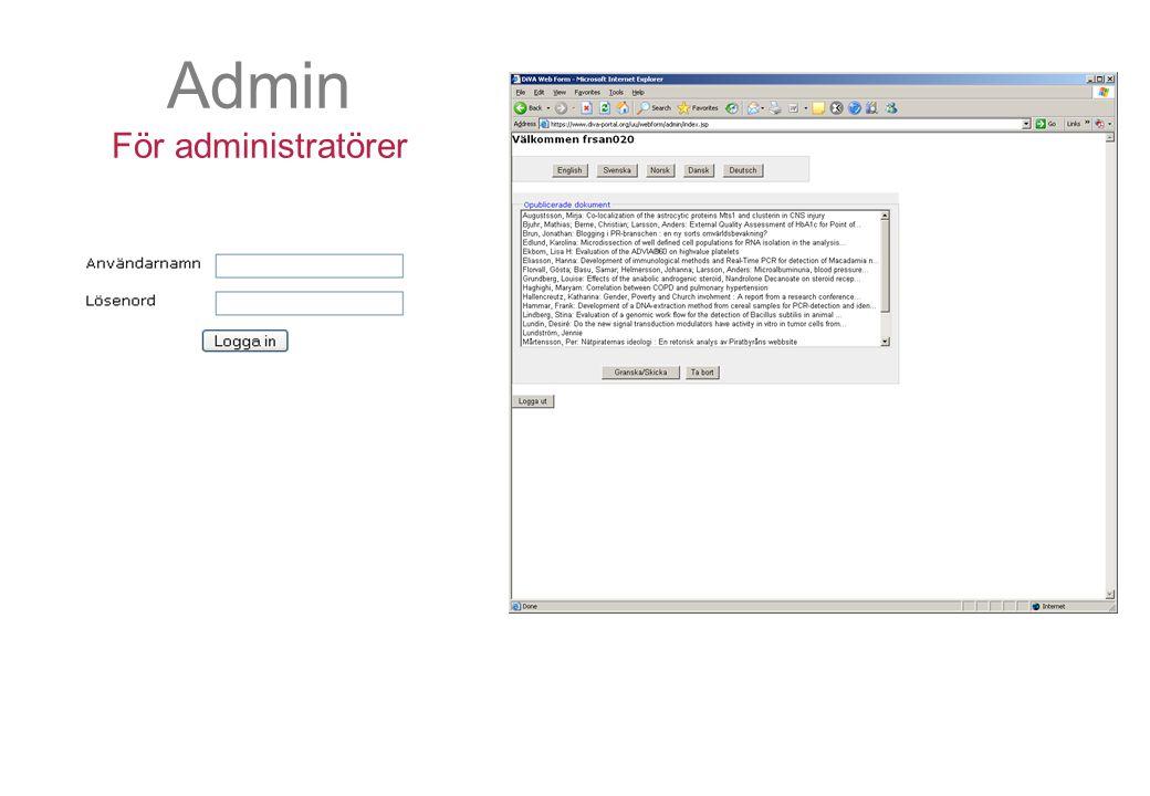 Admin För administratörer