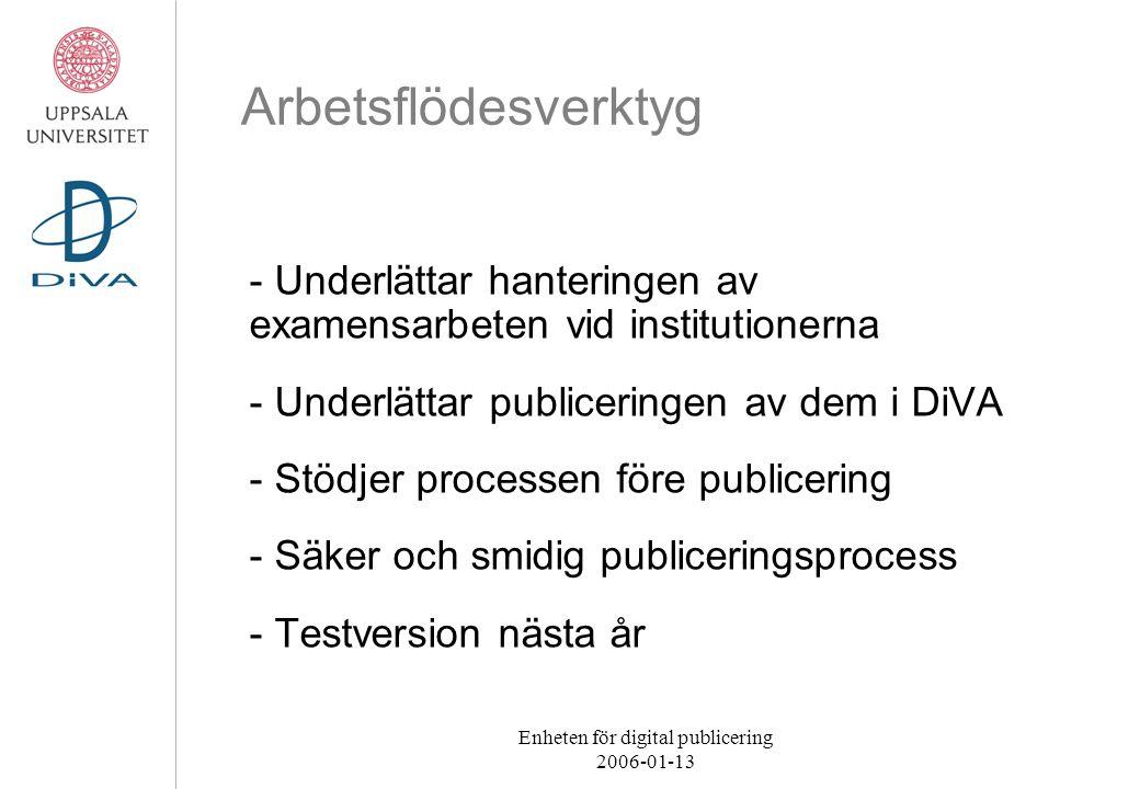 Enheten för digital publicering 2006-01-13 Arbetsflödesverktyg - Underlättar hanteringen av examensarbeten vid institutionerna - Underlättar publiceri