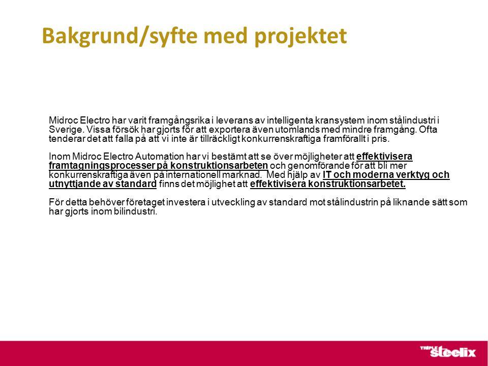 Bakgrund/syfte med projektet Midroc Electro har varit framgångsrika i leverans av intelligenta kransystem inom stålindustri i Sverige.