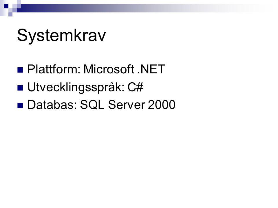 Systemkrav Plattform: Microsoft.NET Utvecklingsspråk: C# Databas: SQL Server 2000