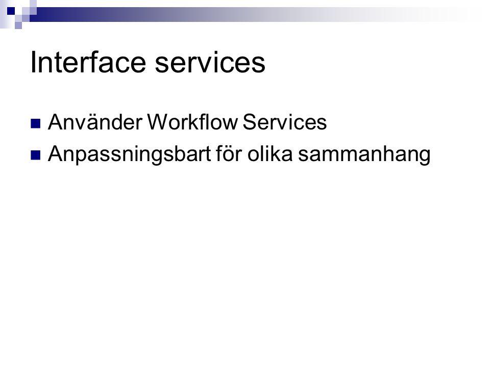 Interface services Använder Workflow Services Anpassningsbart för olika sammanhang