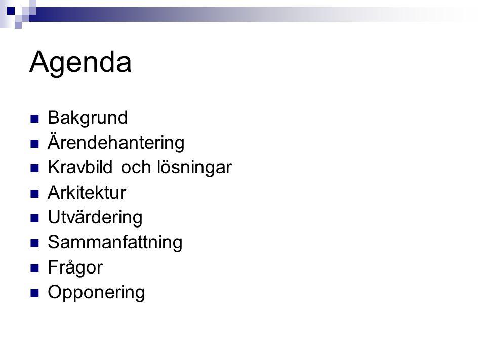 Agenda Bakgrund Ärendehantering Kravbild och lösningar Arkitektur Utvärdering Sammanfattning Frågor Opponering